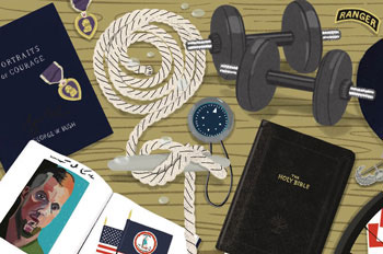 Illustrations of an anchor rope, a bike wheel, a deer mount, a campaign sticker, and the bible