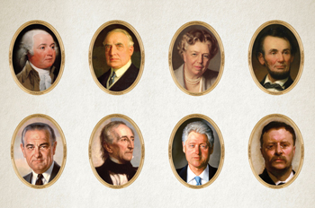a selection of portraits of presidents and First Ladies