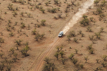 US Border Patrol truck tears across the Sonoran Desert