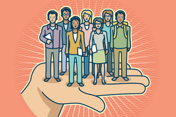 illustration of hand holding a group of students