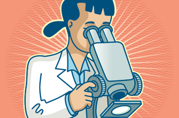illustration of a woman looking through a microscope