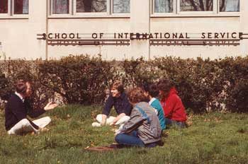 From the archives: students sitting in front of the School of International Service building.