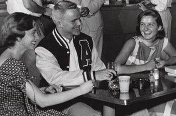 students in the 50s drinking beer in the Tavern