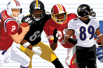 illustration of football players, six feet or under