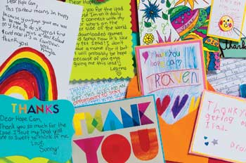 A collection of thank you notes to Len Forkas from kids Hopecam helps