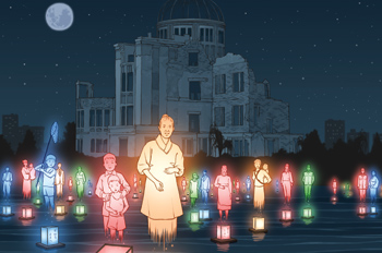 illustration of people standing with lanterns in front of the A-dome in Hiroshima
