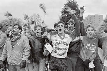 Old photo of fans celebrating AU's 1985 men's soccer team