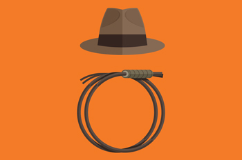 illustration of Indiana Jones's fedora and whip