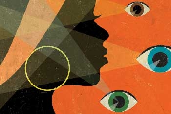 illustration of a black woman with eyes on her