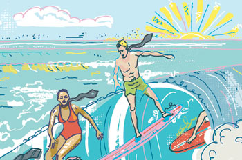 illustration of business people in ties and bathing suits, surfing
