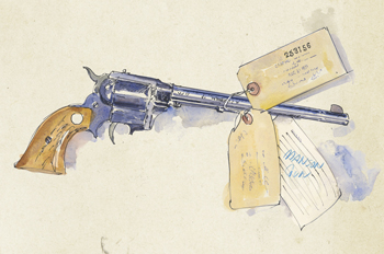 courtroom illustration of gun used by the Manson Family