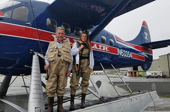 Amanda Mazzoni and her father Michael in Alaska