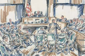 courtroom illustration by Howard Brodie