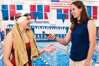 photo illustration of swimmer Shannon Scovel being interviewed poolside by reporter Shannon Scovel