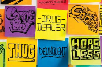Post-Its with stereotypical labels for troubled youth