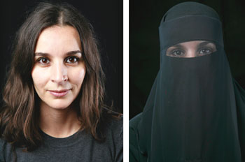 Two women side by side. One wearing a veil, one's face is showing