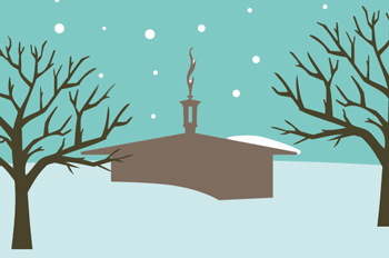 illustration of Kay Spiritual Life Center in the snow