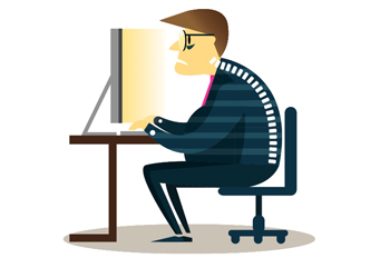 Illustration of an office worker sitting at a desk