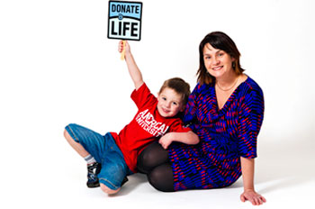 Sarah Gray and her son Callum