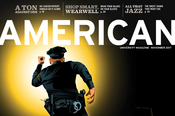 cover of November 2017 issue of American magazine with police officer running in the dark