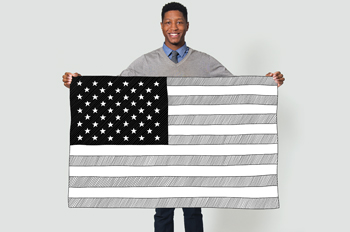 WCL student Travis Holmes holds an illustrated American flag