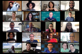twenty members of the AU community participate in a Zoom call