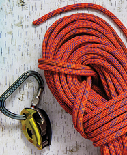 Climbing rope and belaying device