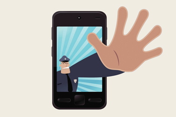 An illustrated police officer's hand extending out of a smart phone