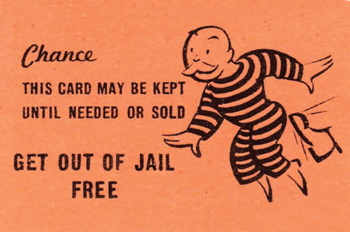 get out of jail free card from Monopoly game