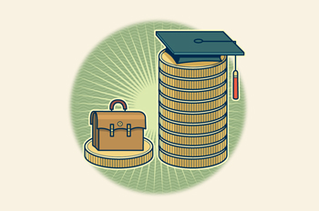 briefcase and mortar board sitting on stacks of coins