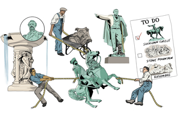 Illustrated images of DC traffic circle statues and monuments