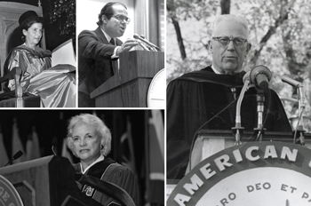 Ruth Bader Ginsburg, Antonin Scalia, Earl Warren, and Sandra Day O'Connor