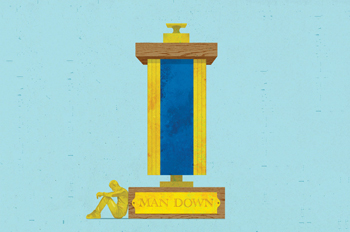 Illustrated trophy with golden figurine slumped against the trophy's base