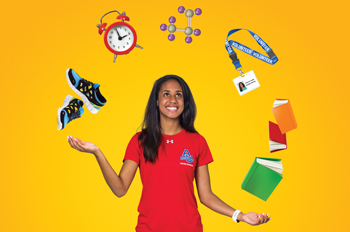 Track athlete Arianna Lopez juggles shoes, a clock, a chemical compound, a lanyard, and books