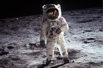 Astronaut walks on the moon