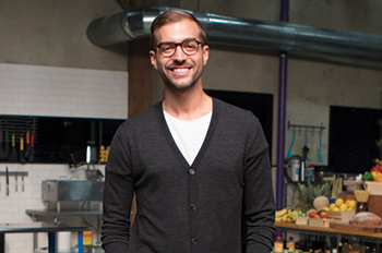 Jake Haelen on the set of the Food Network's Chopped in New York City
