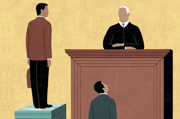 illustration of two lawyers standing on stacks of dollar bills before a judge; defense attorney is on a much shorter stack of bills