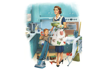 Illustrated, side-by-side images of a housewife and working mother