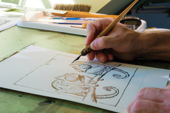 Cartoonist Nick Galifianakis at work in his Philadelphia studio