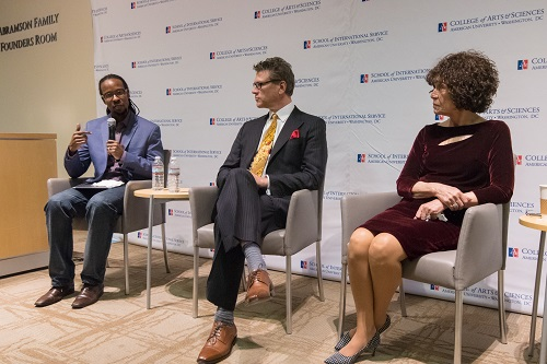 A speaker panel featuring Ibram Kendi, professor and director of the Antiracist Research and Policy Center