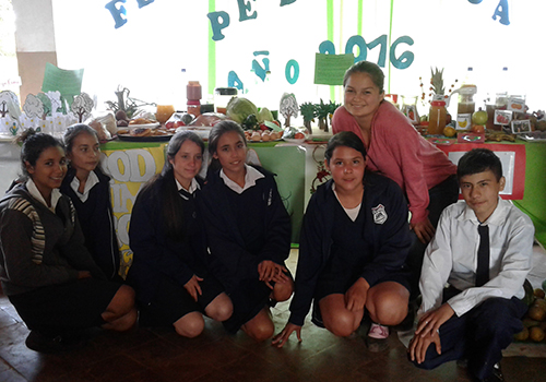 Katherin Sibel with school children in Paraguy.