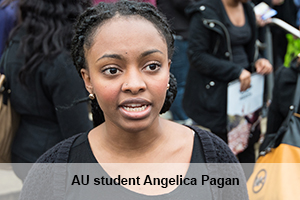American University student Angelica Pagan led the die-in on campus.