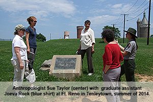 American University anthropologist Sue Taylor at Ft. Reno in Tenleytown, summer 2014.