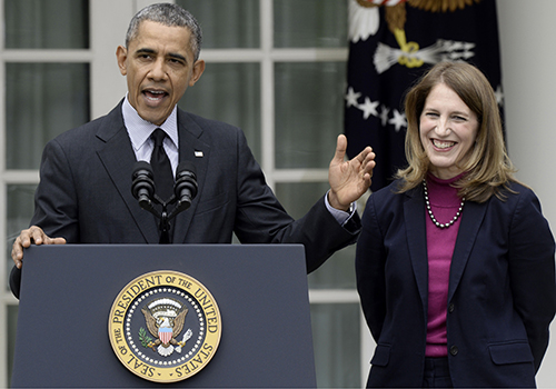 Barack Obama and Sylvia Burwell.