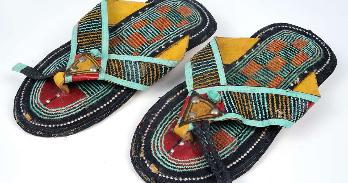 Sandals, Tuareg people, mid-twentieth century. Lake Chad Basin, Niger. Collection of the Museum of the Peace Corps Experience, Gift of John Hutchison, Chad, Doum Doum 1966–68. Photo: Gregory Staley.