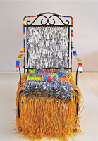 Joel D'Orazio. Garden Chair, 2013. Metal chair with mixed media. 39 x 24 x 30 in.Courtesy of the artist.
