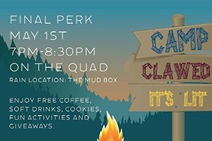Final Perk on the quad rain location: the mud box enjoy free coffee, soft drinks, cookies, fun activities and giveaways