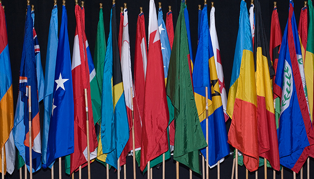 Colorful international flags.