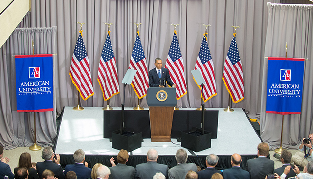 President Obama delivers remarks in AU's School of International Service.