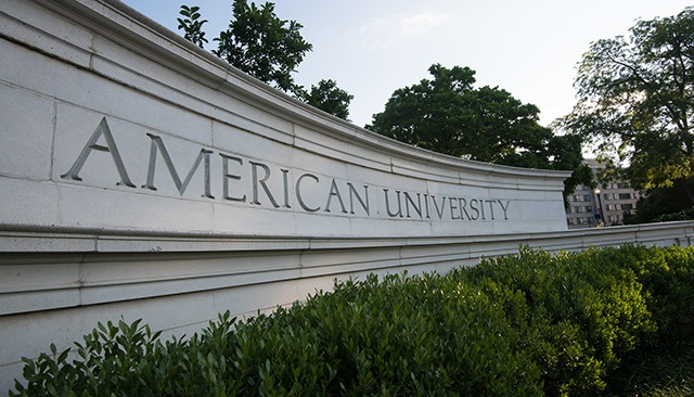 American University's Massachusetts Avenue gate.